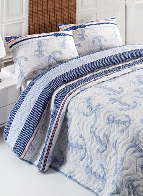 Eponj Home Çift Kişilik Yatak Örtüsü Seti Mavi